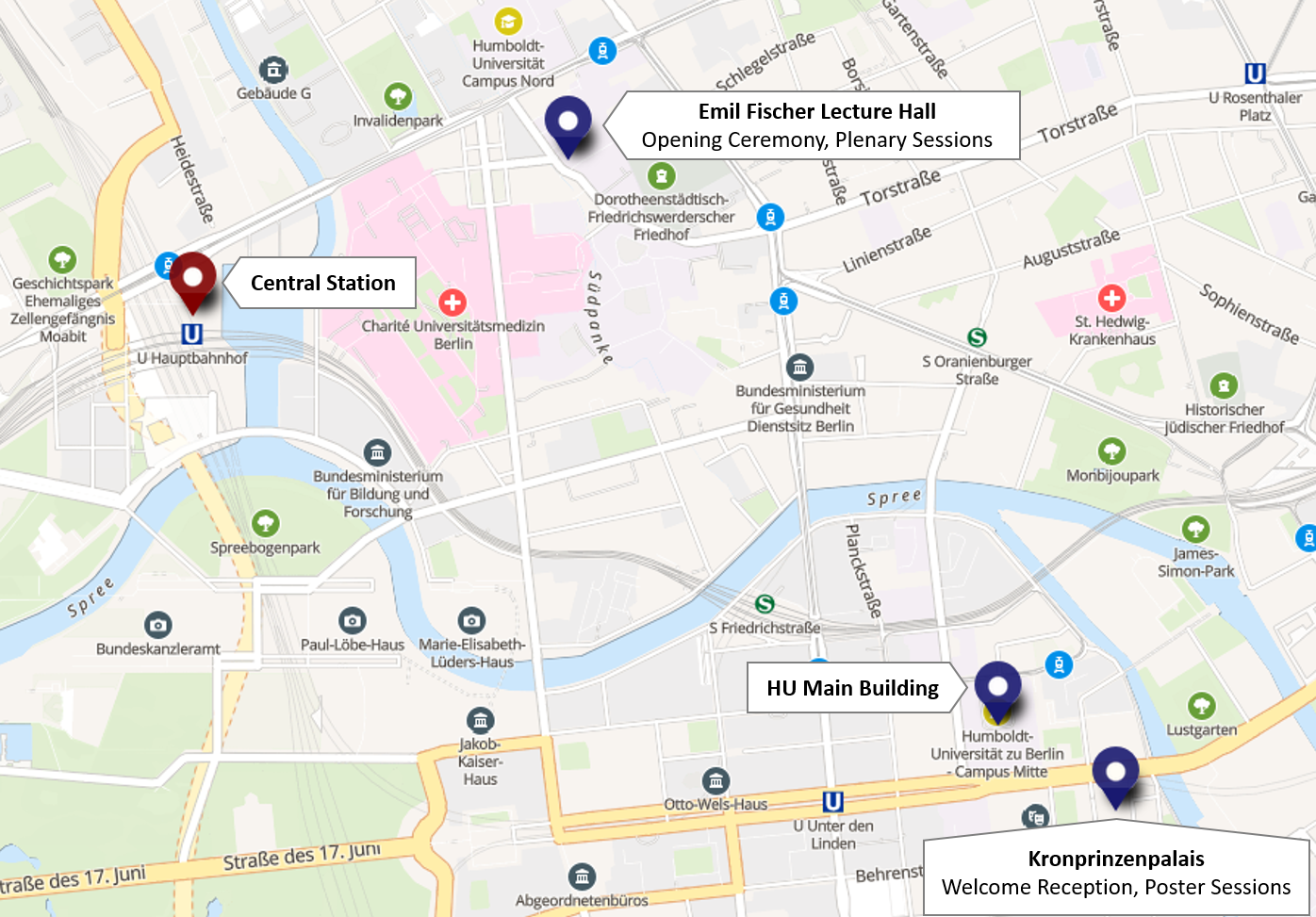 Map of conference locations and central station; click to enlarge